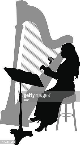 illustrations, cliparts, dessins animés et icônes de harpiste silhouette - pupitre à musique