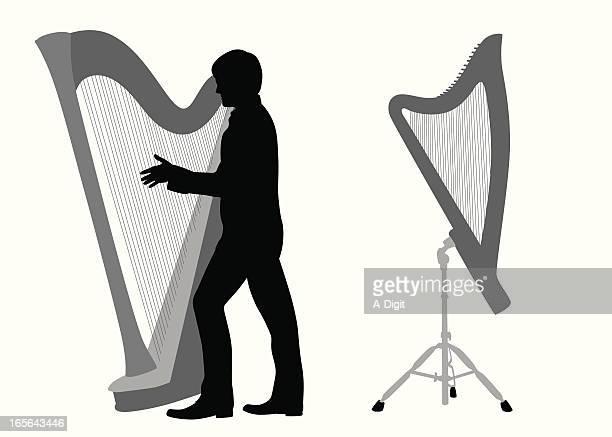 illustrations, cliparts, dessins animés et icônes de harpiste - pupitre à musique