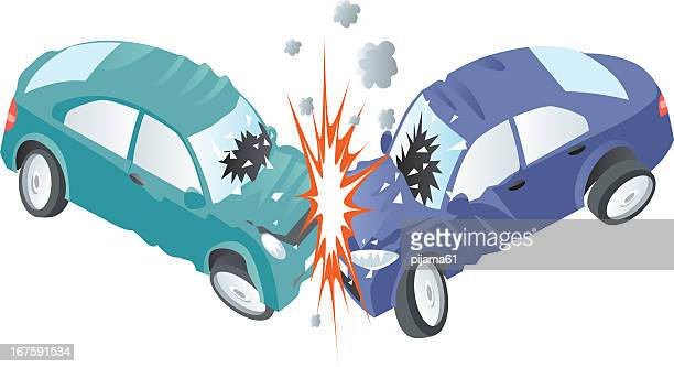 harsh car crash between a green and a blue car - green car crash stock illustrations