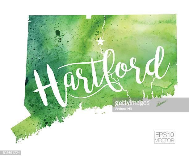 hartford, connecticut usa vector watercolor map - hartford connecticut stock illustrations, clip art, cartoons, & icons