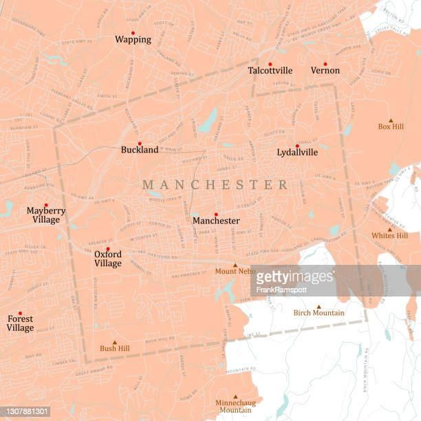 ilustraciones, imágenes clip art, dibujos animados e iconos de stock de ct hartford manchester vector road map - greater london