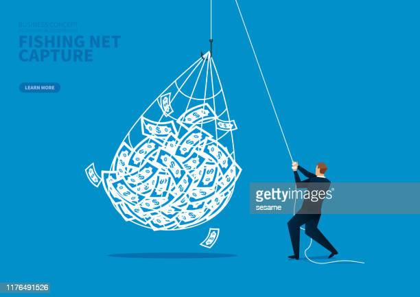 harvest and income, the merchant caught a lot of cash with the net - netting stock illustrations