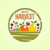 Harvest basket with fresh fruit and vegetables