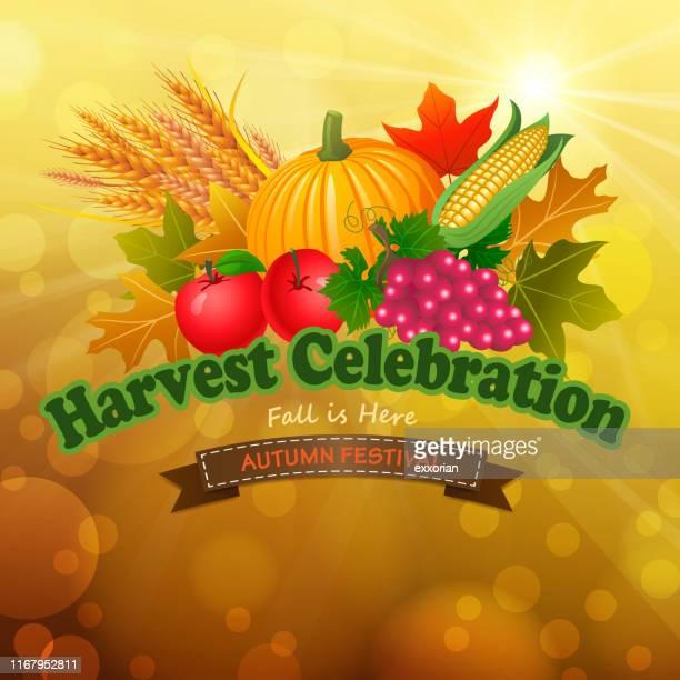 harvest celebration - harvest festival stock illustrations