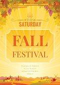 Harvest festival vector poster. Autumn landscape, wine party invitation design.