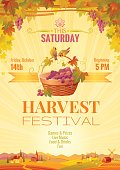 Harvest festival vector poster. Autumn landscape, winemaking farm invitation design.