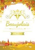 Harvest festival vector poster. Beaujolais nouveau wine party invitation design.