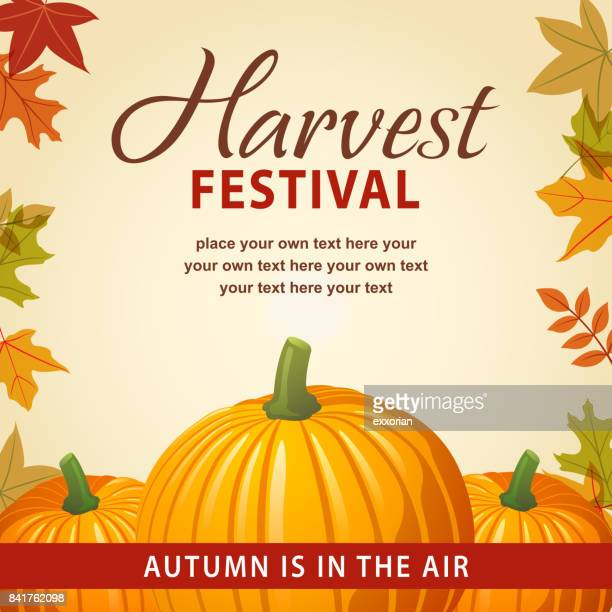 harvest festival with pumpkins - traditional festival stock illustrations