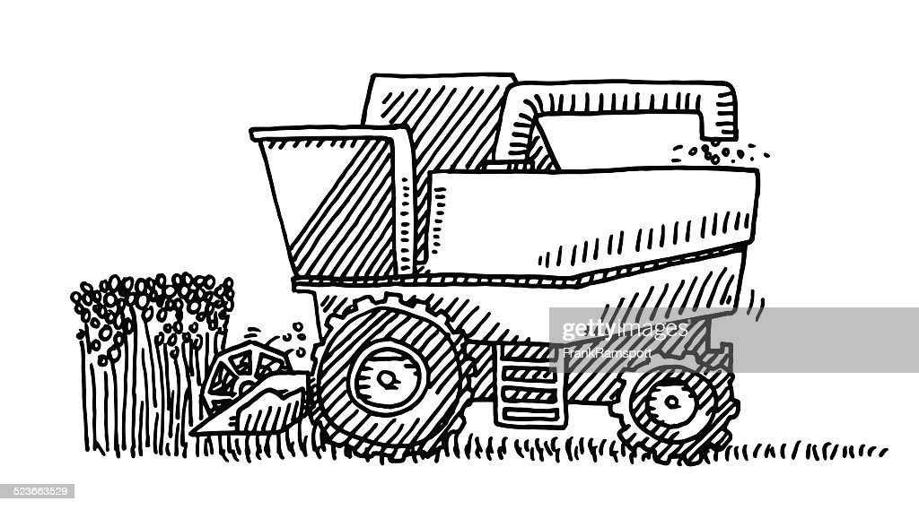Harvester Agricultural Vehicle Drawing Vector Art Getty