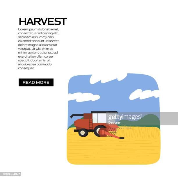 ウェブサイトバナー、広告・マーケティング資料、オンライン広告、ソーシャルメディアマーケティングなどの概念ベクトルイラストを収穫 - スマート農業点のイラスト素材/クリップアート素材/マンガ素材/アイコン素材