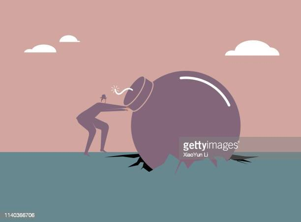 Harvesting—Businessman pulls out the bomb from geography.