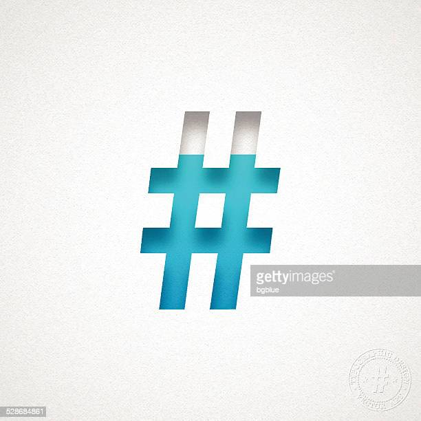 hashtag # - blue symbol on watercolor paper - hashtag stock illustrations