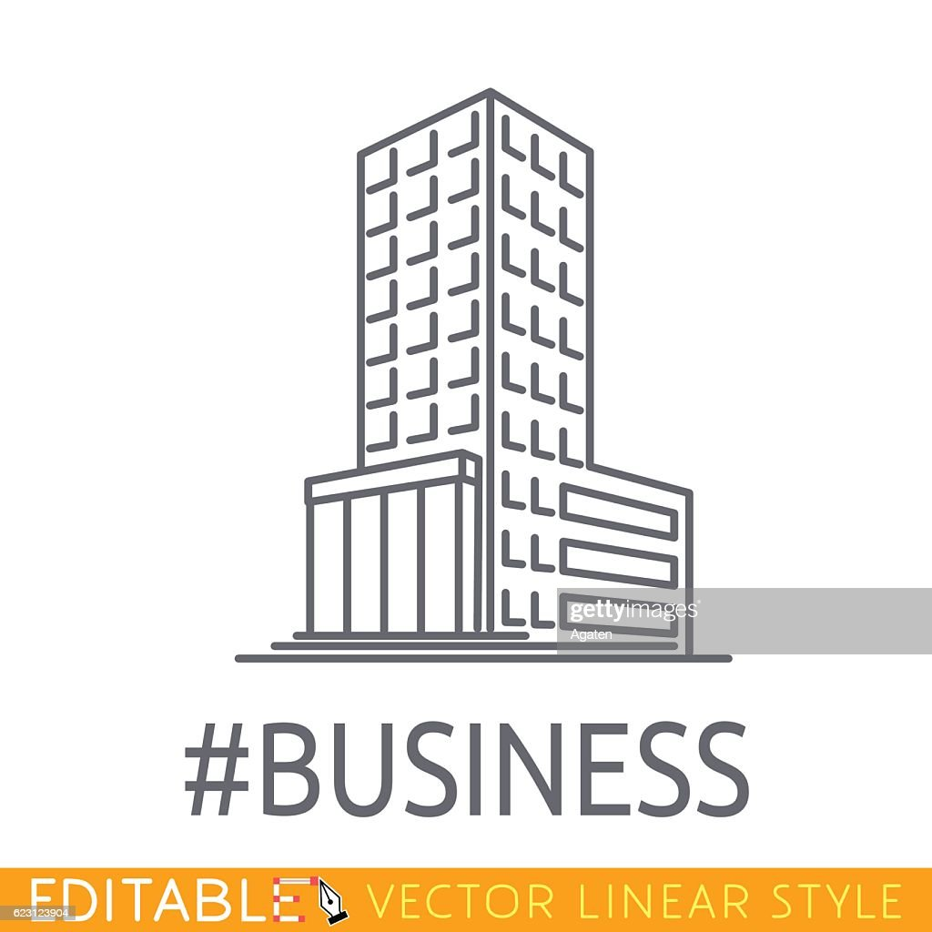Hashtag Business building of big company. Sketch line flat design