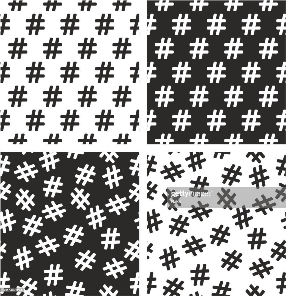 Hashtag Icon Aligned & Random Seamless Pattern Set