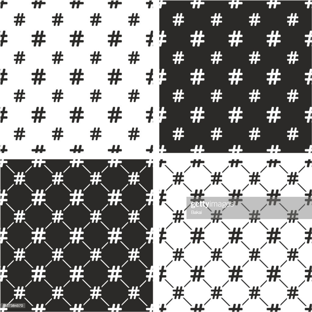 Hashtag Icon Big & Small Seamless Pattern Set