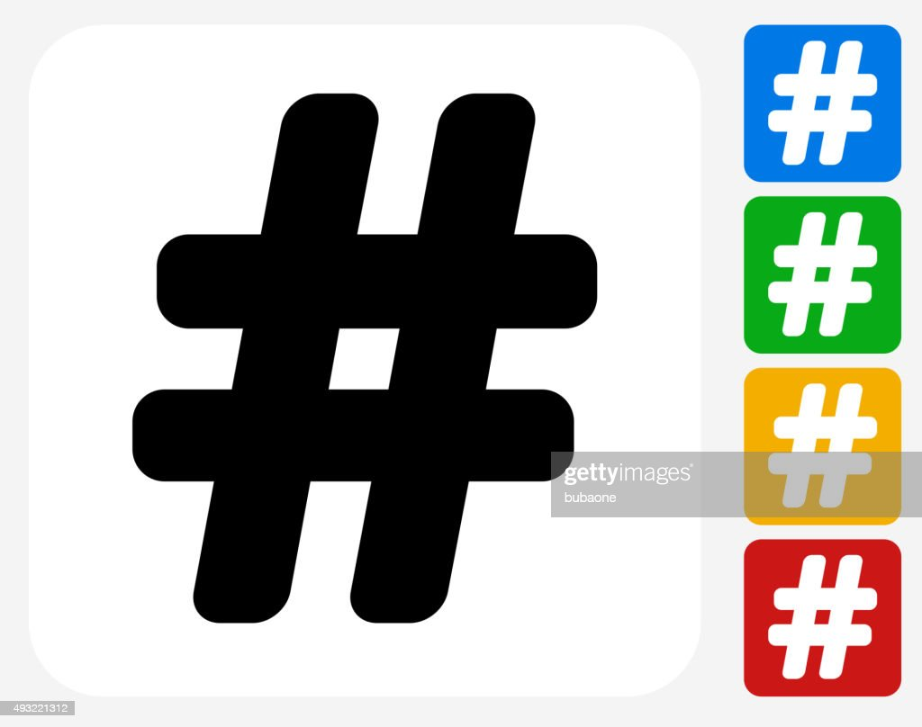 Hashtag icon flat graphic design vector art getty images for Hashtag architecture