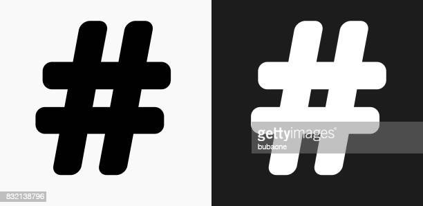 hashtag icon on black and white vector backgrounds - hashtag stock illustrations