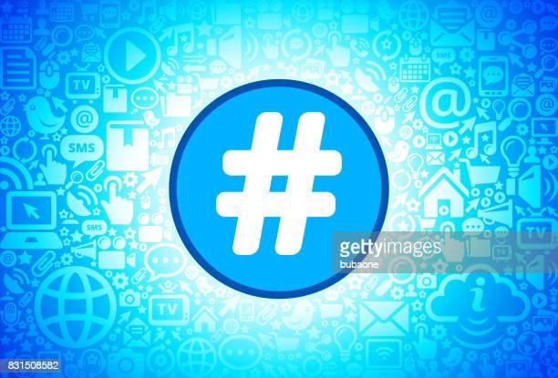 hashtag icon on internet technology background - icon collage stock illustrations