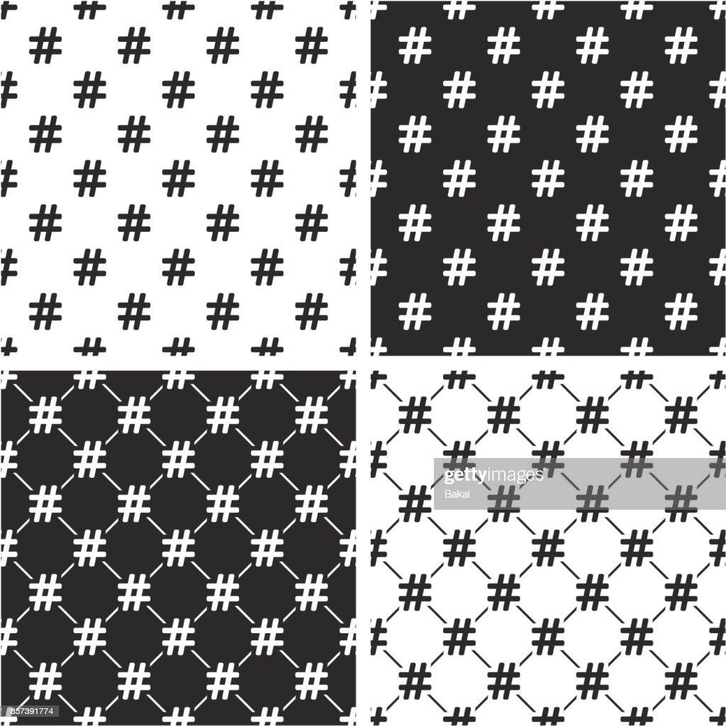 Hashtag Icon Seamless Pattern Set
