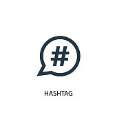 Hashtag icon. Simple element illustration
