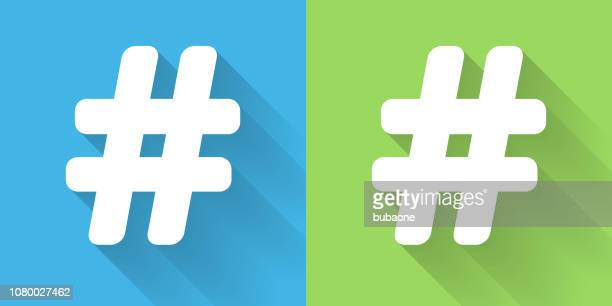 hashtag icon with long shadow - hashtag stock illustrations