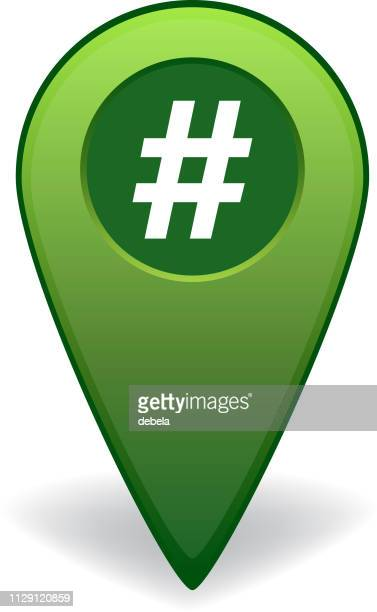 hashtag map pointer for gps navigation - hashtag stock illustrations