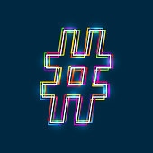 Hashtag, Number sign - Vector multicolored outline font with glowing effect isolated on blue background.