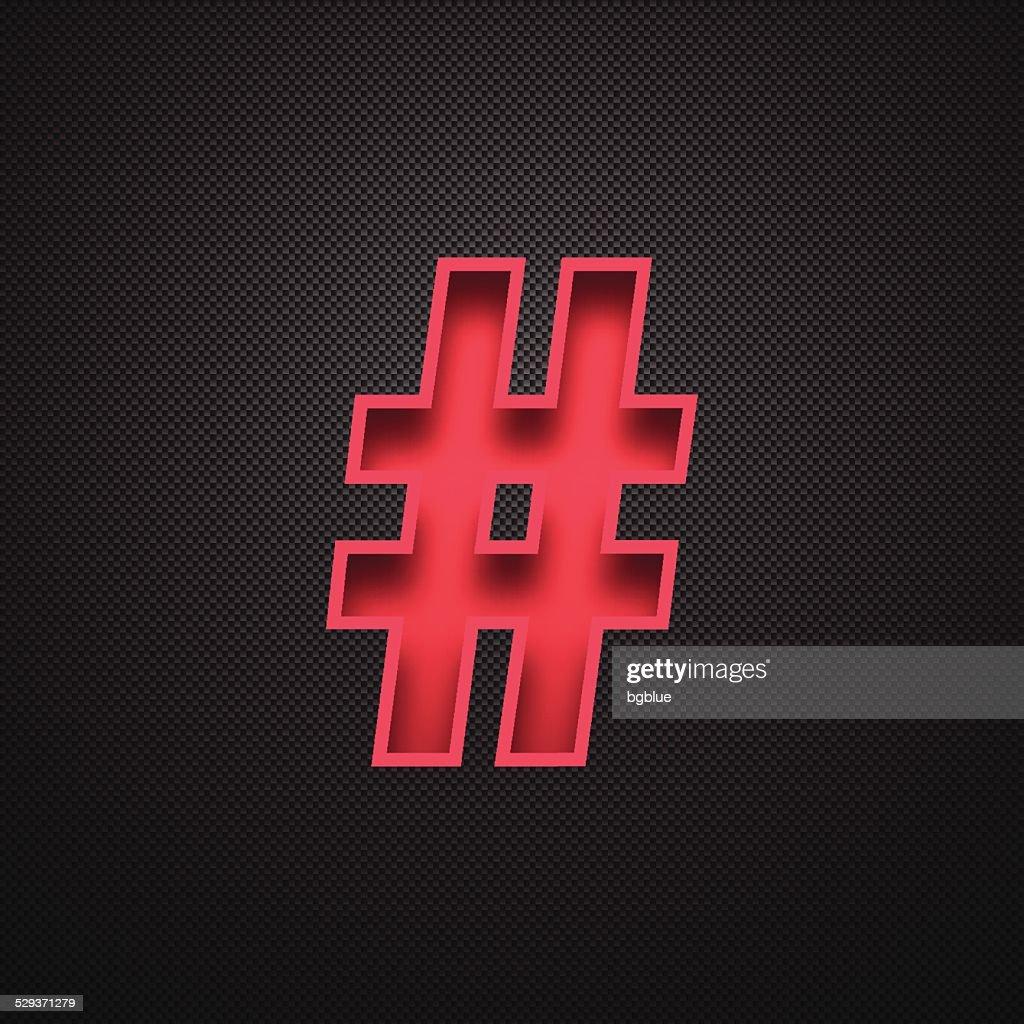 Hashtag # - Red Symbol on Carbon Fiber Background