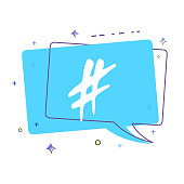 Hashtag sign. Vector illustration.