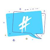 Hashtag sign. Vector illustration.
