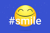 Hashtag smile bright vector concept illustration of smiling emoji icon for chat, messengers and networks