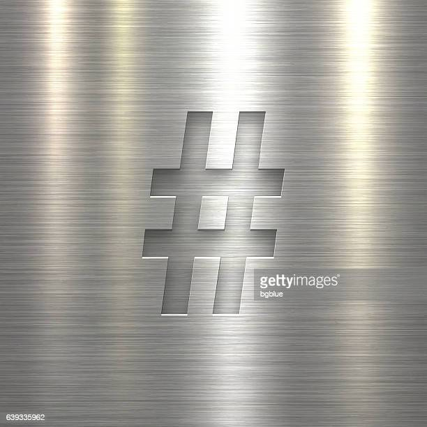 hashtag # - symbol on metal texture background - sheet metal stock illustrations, clip art, cartoons, & icons