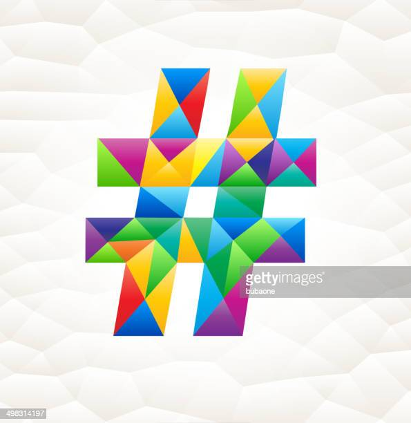 hastag on triangular pattern mosaic royalty free vector art - hashtag stock illustrations