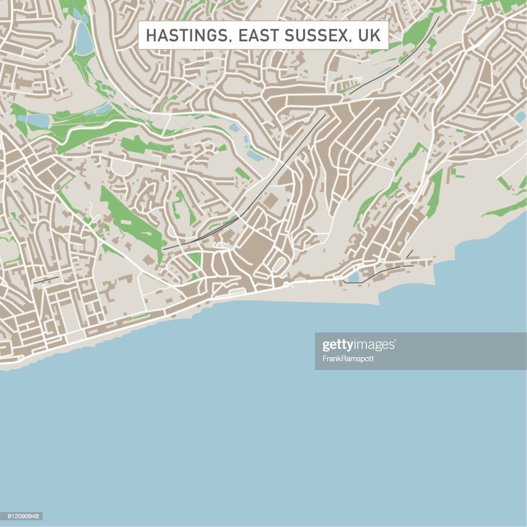 Hastings East Sussex Uk City Street Map Vector Art Getty Images
