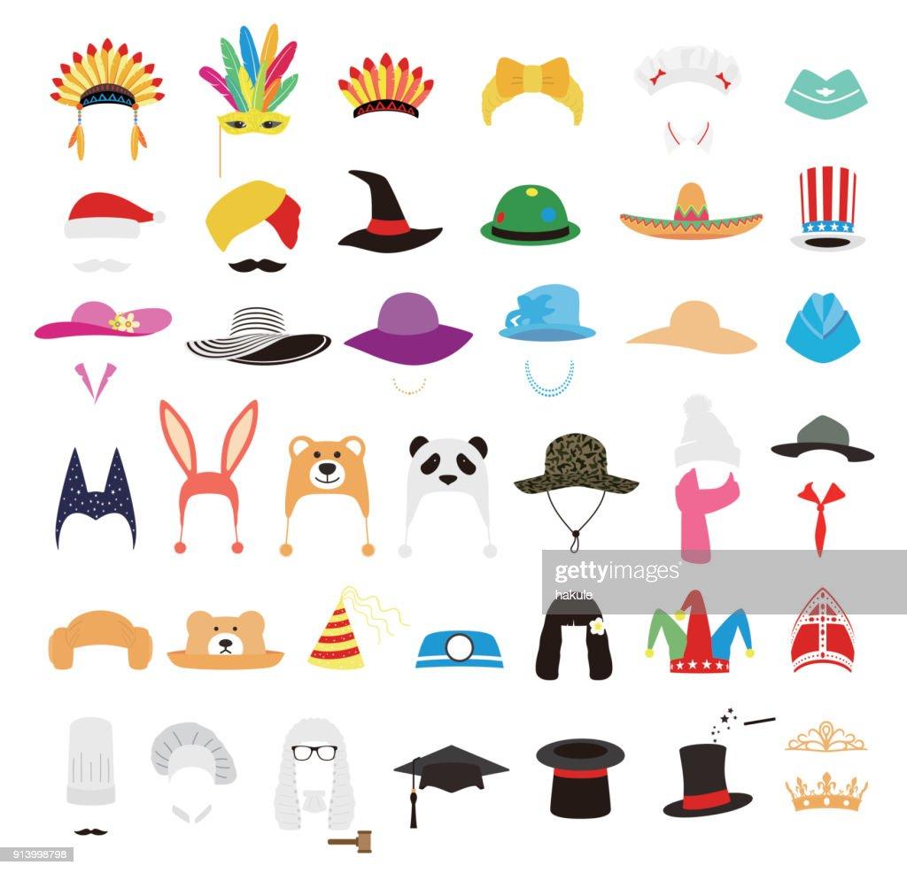 hat and cap icon set, vector illustration : Stock Illustration