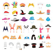 hat and cap icon set, vector illustration