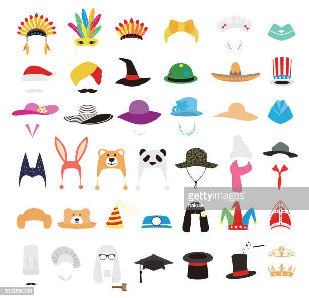 hat and cap icon set, vector illustration - sombrero stock illustrations