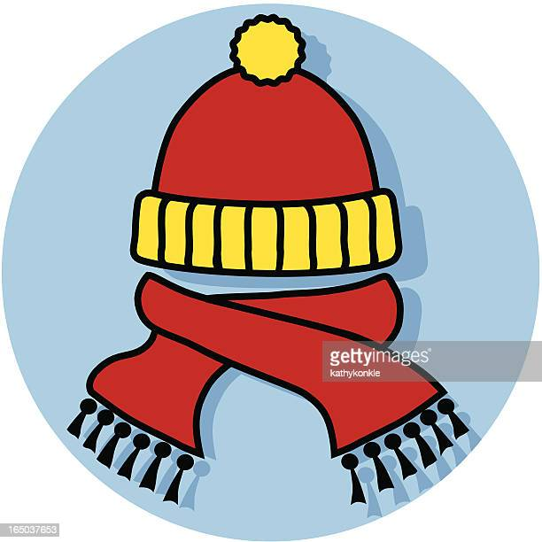 hat and scarf icon - knit hat stock illustrations