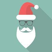 Hat, Beard, Mustache and Glasses of Santa