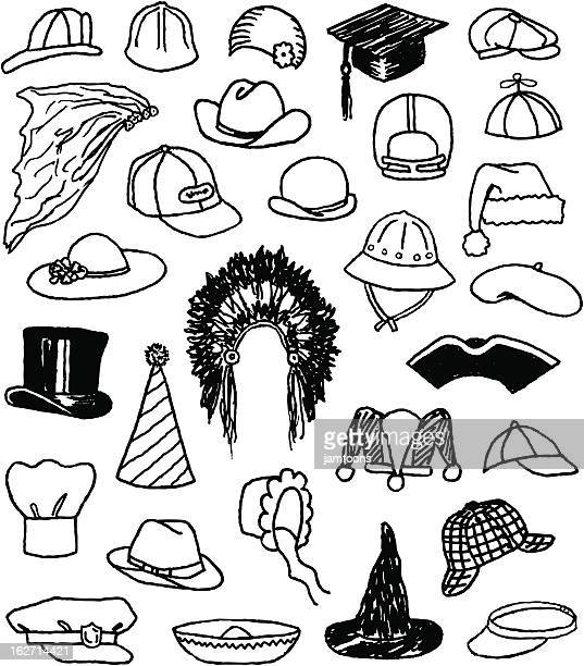 hat doodles - sombrero stock illustrations