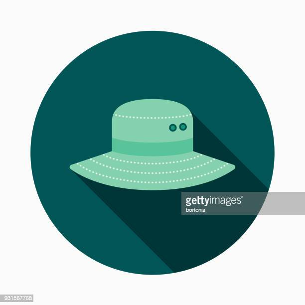 Hat Flat Design Gardening Icon with Side Shadow