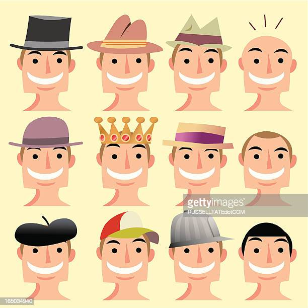 hat heads - straw boater hat stock illustrations