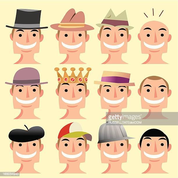 hat heads - balding stock illustrations, clip art, cartoons, & icons