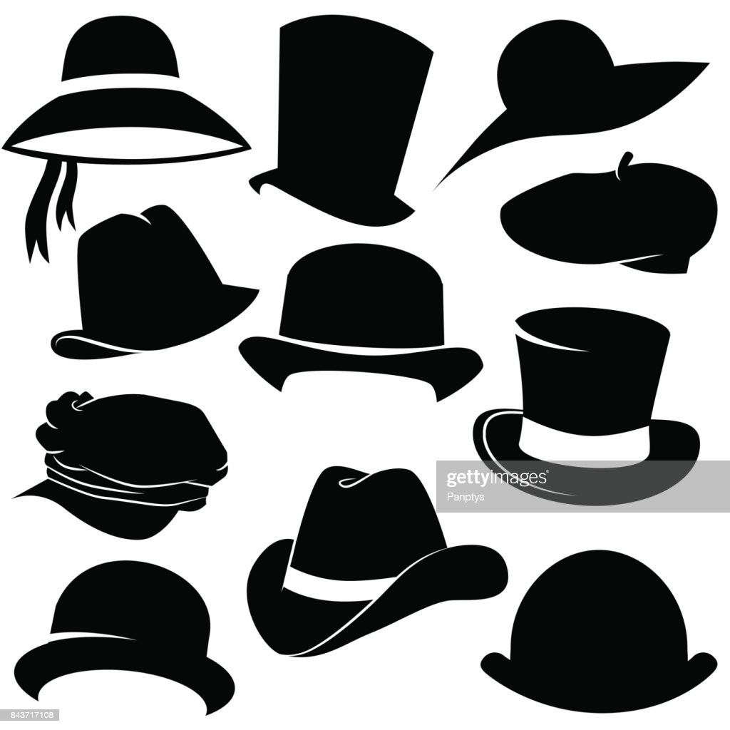 Hat icon set isolated on white background.
