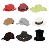 Hat set of nine isolate on white background