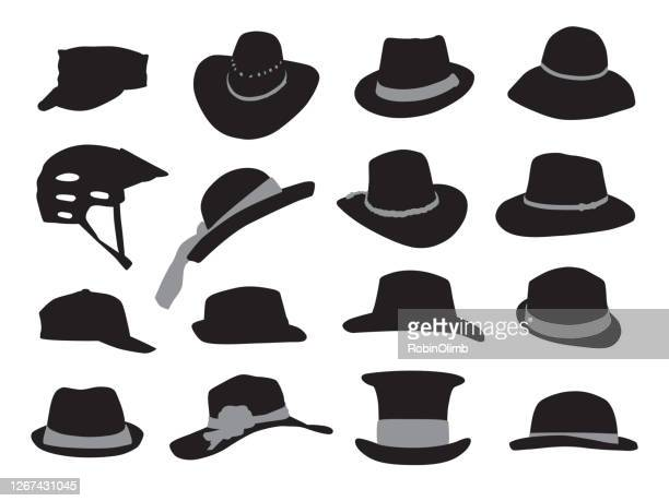 hat silhouettes - fedora stock illustrations