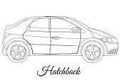 Hatchback car body type outline