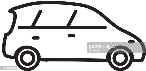 hatchback car transportation themed icon in outline line art style - hatchback stock illustrations, clip art, cartoons, & icons