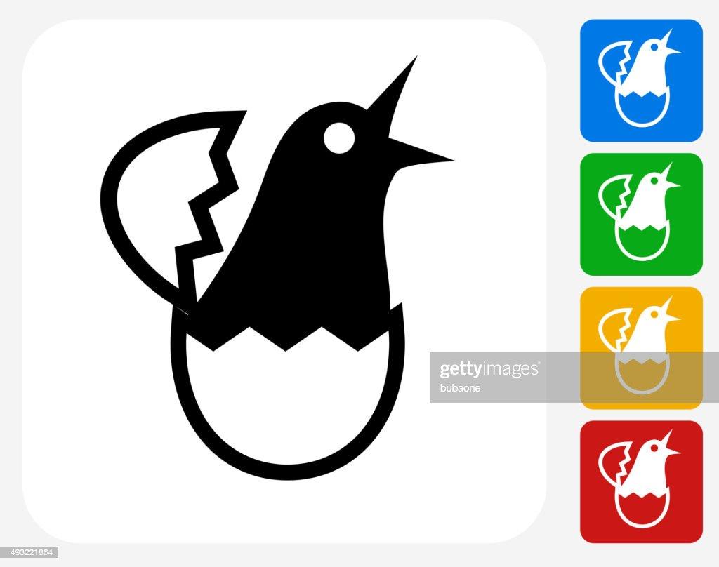 Hatching Bird Icon Flat Graphic Design