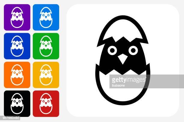 Schraffur Vogel-Symbol Square Buttonset